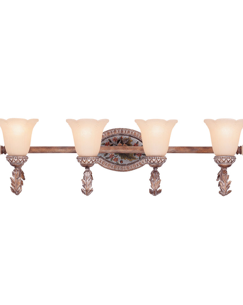 8 1176 4 121 Tracy Porter Lighting Cerulean Light Bath Bar In Cottonwood Finish W Hand Painted Accent