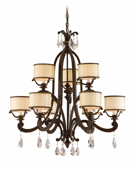 86 09 Corbett Roma 9lt Chandelier With Classic Bronze Finish