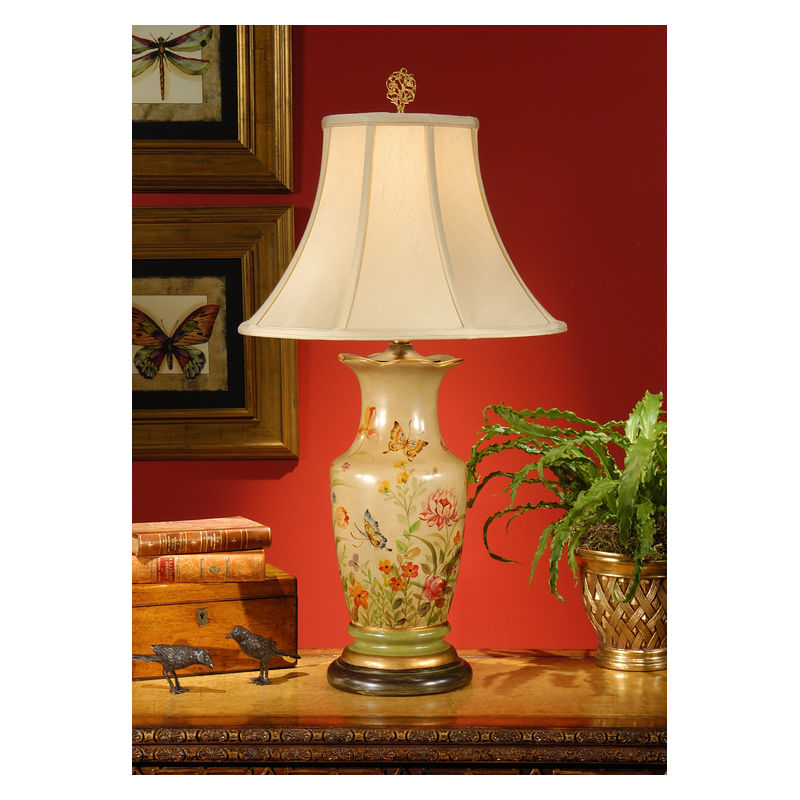 8939 Wildwood Lamps Butterflies Galore Lamp With Hand Painted Lacquer On Porcelain