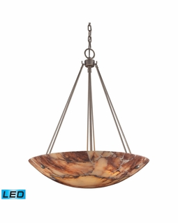 9025/6-LED Transitional Marbled Stone 6 Light LED Pendant In Matte Nickel