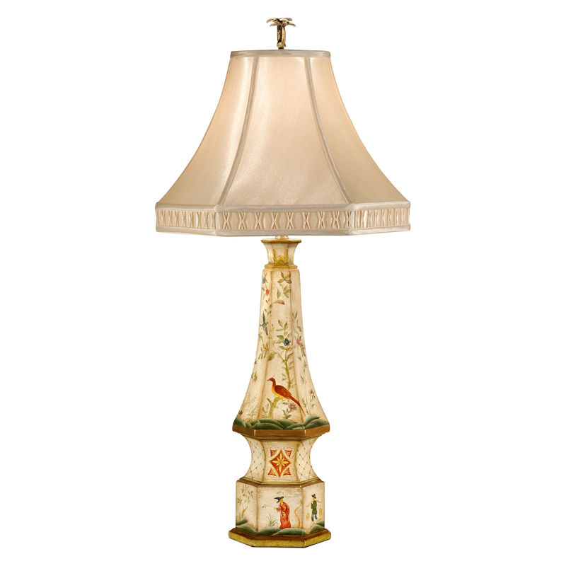 9067 Wildwood Lamps Old Pagoda Lamp with Hand Painted Wood