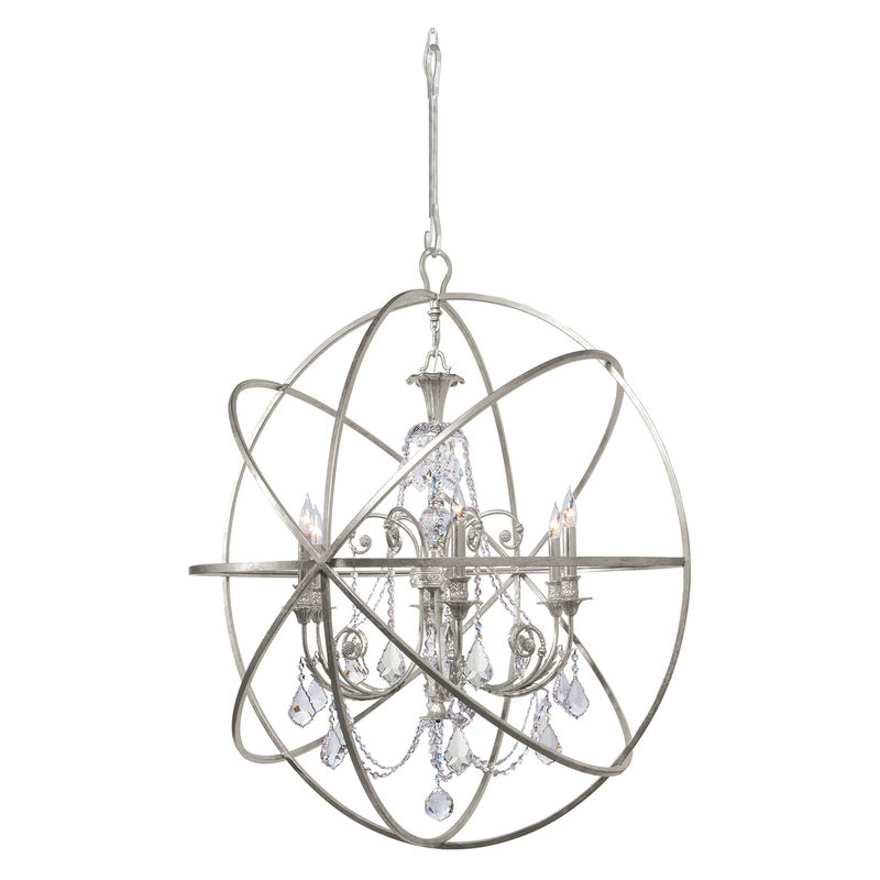 Crystorama solaris 6 light spectra crystal silver sphere chandelier aloadofball Images