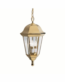 9889PB Kichler Fixtures Traditional Polished Brass Outdoor Pendant 3Lt