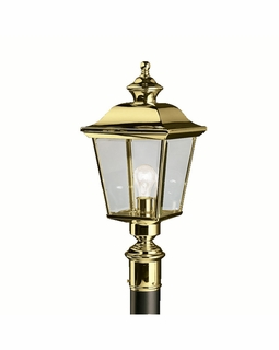9913PB Kichler Fixtures Traditional Polished Brass Outdoor Post Mt 1Lt