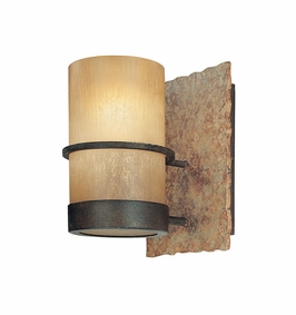 Troy Lighting Interior Natural Inspirations Bamboo 1Lt Bath Bamboo Bronze W/ Natural Slate