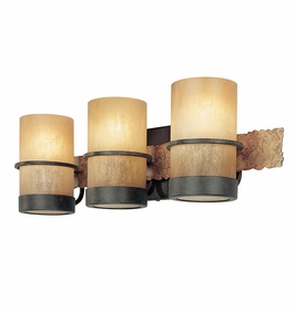 Troy Lighting Interior Natural Inspirations Bamboo 3Lt Bath Bamboo Bronze W/ Natural Slate