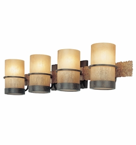 Troy Lighting Interior Natural Inspirations Bamboo 4Lt Bath Bamboo Bronze W/ Natural Slate