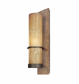 Troy Bamboo Exterior 1Lt Wall Bracket Medium Base with Bamboo Bronze Finish