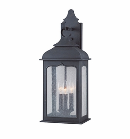 Troy Henry Street Exterior 3Lt Wall Lantern Candelabra with Colonial Iron Finish