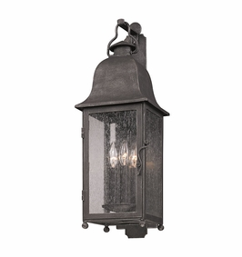Troy Larchmont Exterior 3Lt Wall Lantern Candelabra with Aged Pewter Finish