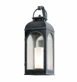 Troy Derby Exterior 1Lt Wall Lantern Medium Base with Antique Iron Finish