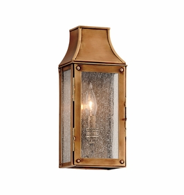 Troy Beacon Hill Exterior 1Lt Wall Lantern Tall Candelabra with Heirloom Brass Finish
