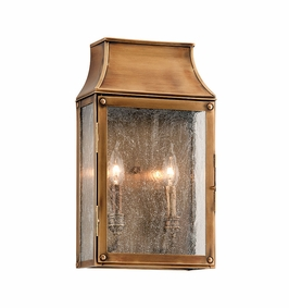 Troy Beacon Hill Exterior 2Lt Wall Lantern Candelabra with Heirloom Brass Finish