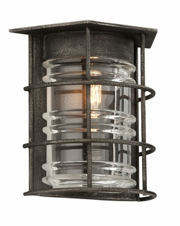 B3791 Troy Exterior Brunswick Sconce 1Lt Hand-Worked Iron Wall Mount Lantern in Aged Pewter Finish