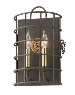 B3932 Troy Interior Latitude Bath 2Lt Hand-Worked Iron Wall Mount Sconce in Liberty Rust Finish