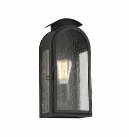 Troy Copley Square Exterior 1Lt Wall Lantern Small Medium Base with Charred Iron Finish