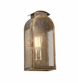 Troy Copley Square Exterior 1Lt Wall Lantern Small Medium Base with Historic Brass Finish