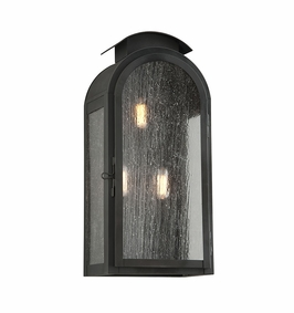 Troy Copley Square Exterior 3Lt Wall Lantern Large Candelabra with Charred Iron Finish