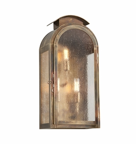 Troy Copley Square Exterior 3Lt Wall Lantern Large Candelabra with Historic Brass Finish