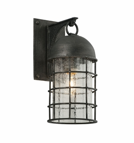 Troy Charlemagne Exterior 1Lt Wall Lantern Small Medium Base with Aged Pewter Finish