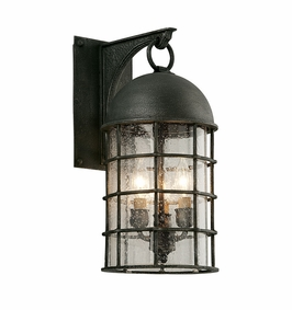 Troy Charlemagne Exterior 3Lt Wall Lantern Medium Candelabra with Aged Pewter Finish