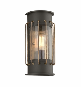 Troy Cabot Exterior 1Lt Wall Lantern Medium Medium Base with Bronze With Historic Brass Accents Finish