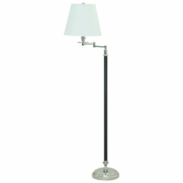 "B501-BPN House of Troy Bennington 61"" Black and Polished Nickel Swing Arm Floor Lamp"