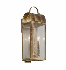 Troy Bostonian Exterior 2Lt Wall Lantern Small Candelabra with Historic Brass Finish