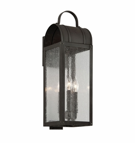 Troy Bostonian Exterior 3Lt Wall Lantern Medium Candelabra with Charred Iron Finish