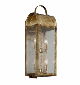 Troy Bostonian Exterior 4Lt Wall Lantern Large Candelabra with Historic Brass Finish