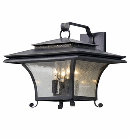 Troy Grammercy Exterior 4Lt Wall Lantern Large Candelabra with Forged Iron Finish