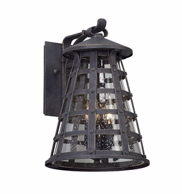 Troy Benjamin Exterior 3Lt Wall Lantern Medium Candelabra with Vintage Iron Finish