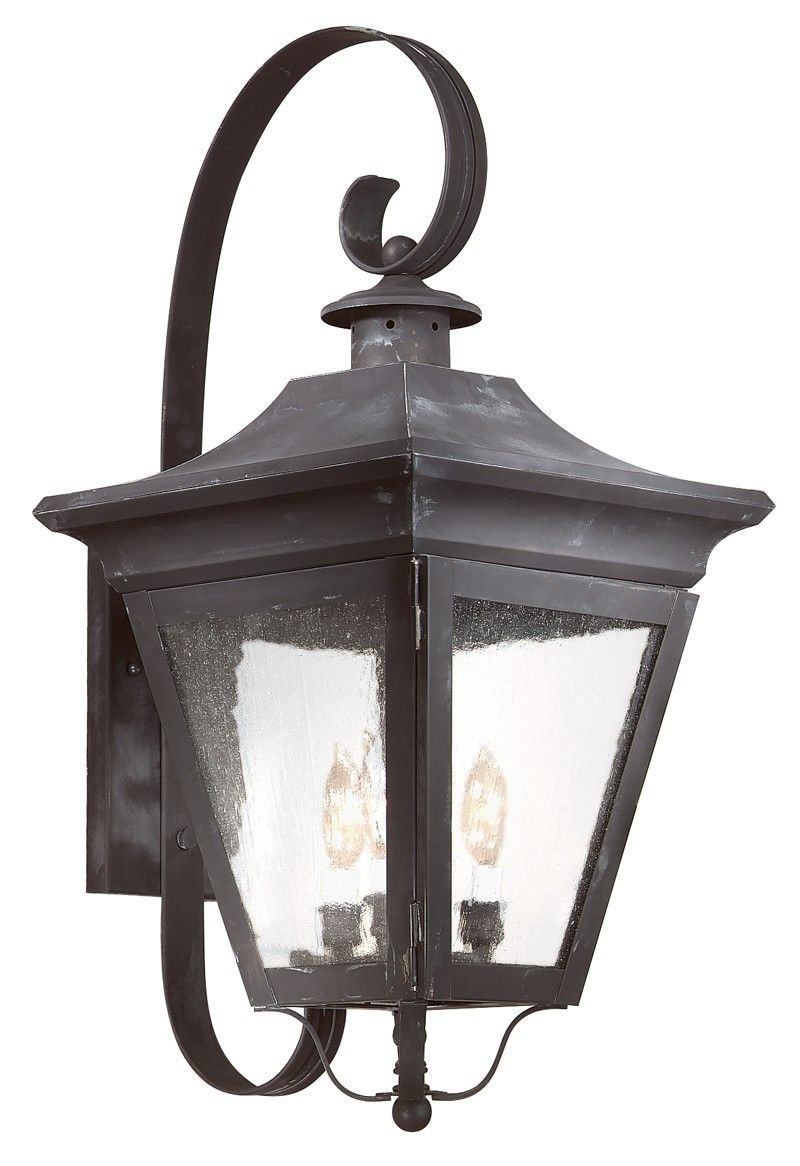 B8933CI Troy Exterior Oxford Charred Iron Large 3 Light Wall Lantern