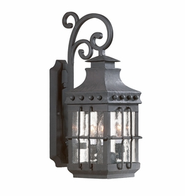 Troy Dover Exterior 3Lt Wall Lantern Candelabra with Natural Bronze Finish