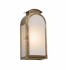 Troy Copley Square Exterior 1Lt Wall Lantern Small Gu24 with Historic Brass Finish