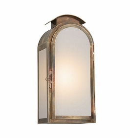 Troy Copley Square Exterior 1Lt Wall Lantern Large Gu24 with Historic Brass Finish