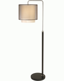 BF7168 Trend Roosevelt Downbridge Floor Lamp with Espresso/Brushed Nickel/ Sheer Smoke (DISCONTINUED PRODUCT)