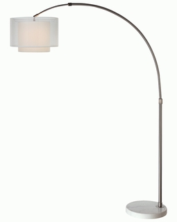 "BFA8400 Trend ""Brella"" Arc Floor Lamp with Brushed Nickel/ Sheer Snow (DISCONTINUED PRODUCT)"