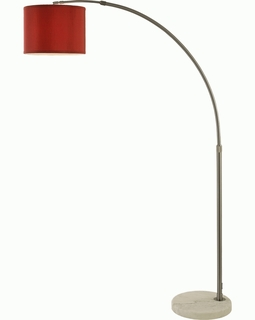 BFA8416 Trend Cafe Arc Floor Lamp with Cranberry/ Brushed Nickel Finish/ White (DISCONTINUED PRODUCT)
