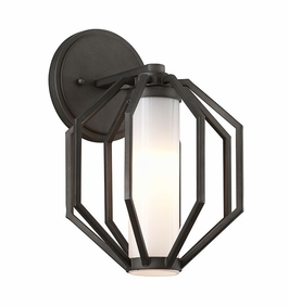 Troy Boundary Exterior 1Lt Wall Lantern Small LED with Textured Graphite Finish