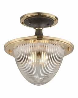 C4700 Troy Interior Fly Boy Large 1Lt Hand Worked Iron Brass And Alu Ceiling Mount Semi-Flush in Antique Silver With Vintage Aluminum And Aged Brass Finish