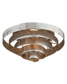 C4720 Troy Interior Mitchel Field Large 1Lt Hand Worked Iron And Aluminum Ceiling Mount Flush in Parisian Silver Finish