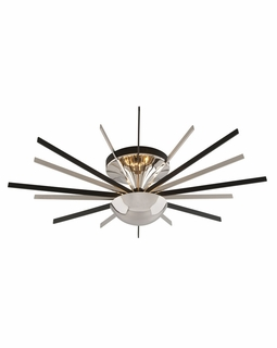 C4803 Troy Interior Atomic Medium 16Lt 0 Ceiling Mount Pn/Mb in Polished Nickel With Matte Black Finish