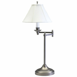 "CL251-AS House of Troy Club 25"" Antique Silver Table Lamp with swing arm"