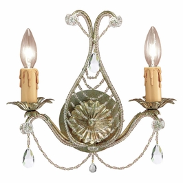Crystorama Paris Market 2 Light Gold Leaf Sconce