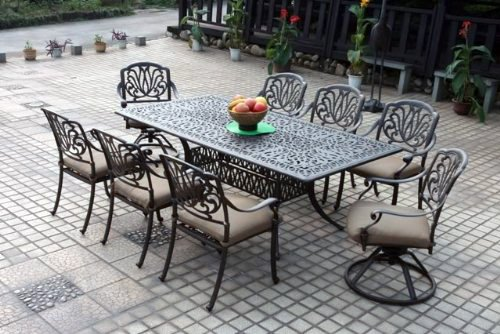 Darlee Elisabeth Cast Aluminum 9 Piece 44 X 84 Dining Set With