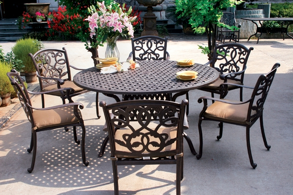 Darlee Santa Monica 6 Seat Dining Set with 60 inch Round Table