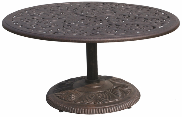 dl80 p darlee 42 round pedestal patio tea table in cast aluminum top with an antique bronze finish. Black Bedroom Furniture Sets. Home Design Ideas