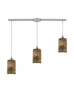 10508/3L ELK Lighting Illusions 3-Light Linear Pendant Fixture in Satin Nickel with 3-D Starburst Glass