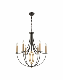 10515/6 ELK Lighting Dione 6-Light Chandelier in Brushed Antique Brass and Oil Rubbed Bronze